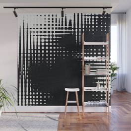 Black and White Halftone Grid Pattern Wall Mural