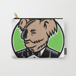 Koala Wearing Tuxedo Woodcut Color Carry-All Pouch