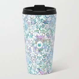 Mermaid Dreams Mandala on White Travel Mug