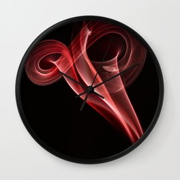 Smoke creations - red swirls Wall Clock