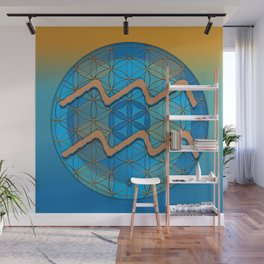 AQUARIUS Flower of Life Astrology Design Wall Mural