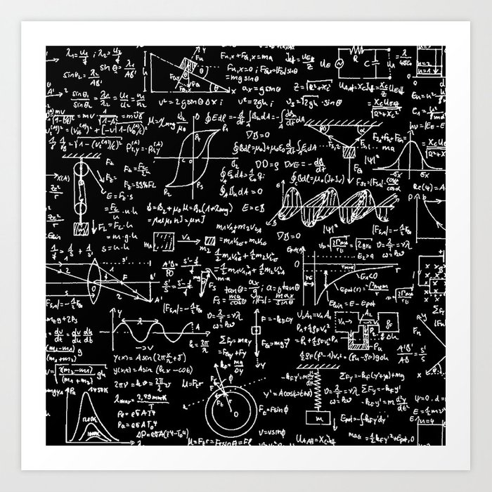 Physics Equations on Chalkboard Kunstdrucke