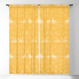 Birds Dove Pigeon in Marigold Sunshine Golden Yellow (William Morris Antique 1878 Vintage Pattern) Blackout Curtain