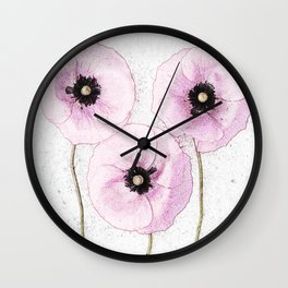 Delicate Poppies Wall Clock