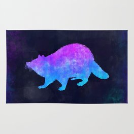 RACCOON IN SPACE // Animal Graphic Art // Watercolor Canvas Painting // Modern Minimal Cute Rug
