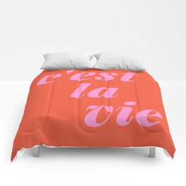 C'est La Vie French Language Saying in Bright Pink and Orange Comforters