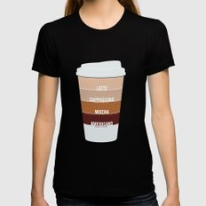 four shades of coffee + ingredients Black SMALL Womens Fitted Tee
