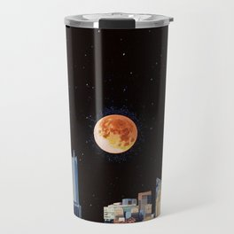 Blood Moon Over Pittsburgh Pennsylvania Skyline-Night Sky and Stars Travel Mug