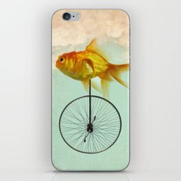 unicycle goldfish iPhone Skin