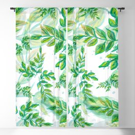 Leaves green pattern nature plant Blackout Curtain