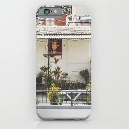 Jesus is watching you / poster on a balcony / Madeira wanderlust street photography iPhone Case