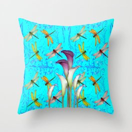 PURPLE CALLA LILIES IN  DRAGONFLY WORLD  ART Throw Pillow