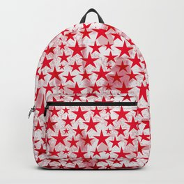 Red stars on grunge textured white background Backpack