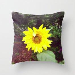 Winking Sunflower Throw Pillow