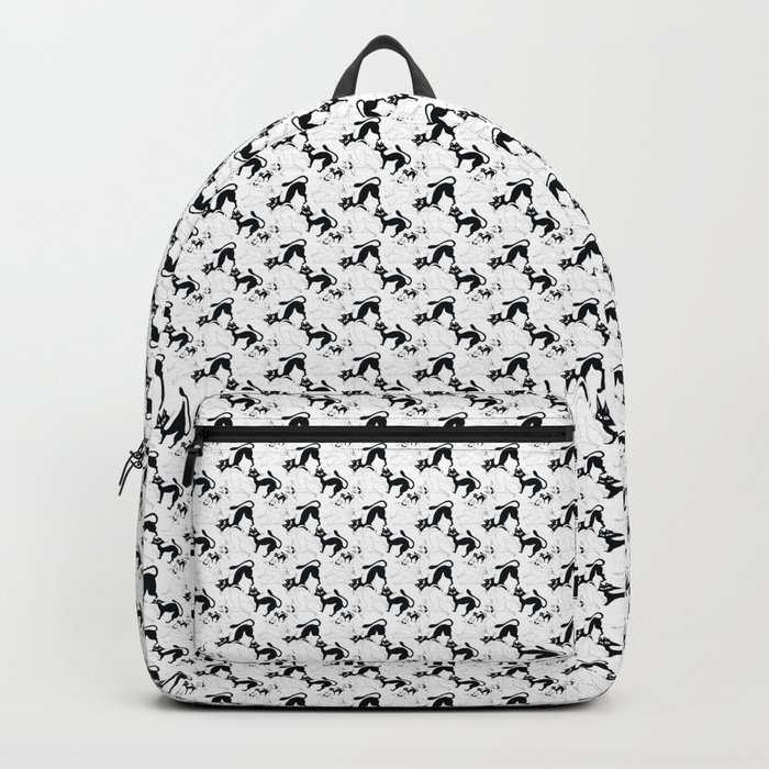 Blac&White Cat Pattern Backpack
