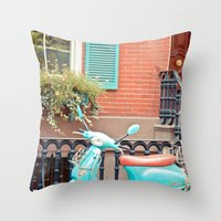 vespa Throw Pillows featuring Vespa  by Carmen Moreno Photography