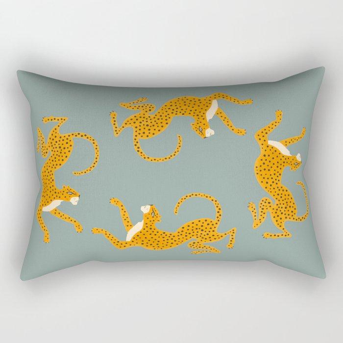 Leopard Race - blue Rechteckiges Kissen