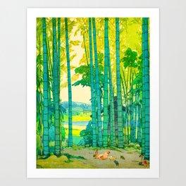 Yoshida Hiroshi Bamboo Grove Vintage Japanese Woodblock Print Bright Green Bamboo Landscape Forest Art Print