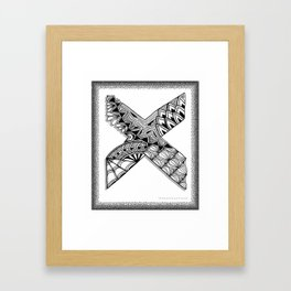 Zentangle X Monogram Alphabet Initial Framed Art Print