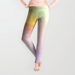 Rainbow Watercolor Abstract Paint Leggings