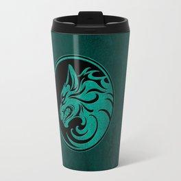 Teal Blue Growling Wolf Disc Travel Mug