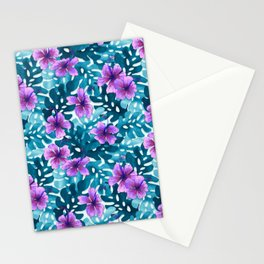 Tropical Hibiscus Pattern Purple Stationery Cards