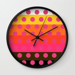 Earth and Summer Sky - Color Strips with Pink Dots Wall Clock