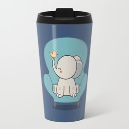 Kawaii Cute Elephant On A Couch Travel Mug