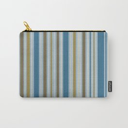 Stripey Design Gold Cream Brown Blues Carry-All Pouch