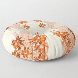 Alligator and Camellias Floor Pillow