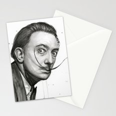 Salvador Dali Watercolor Portrait Stationery Cards