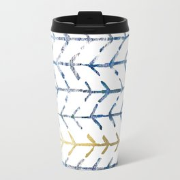 Indigo Gold Herringbone Pattern Travel Mug