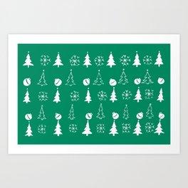 Christmas Festive pattern-turquoise Art Print