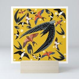 Swallows Martins and Swift pattern Yellow Mini Art Print