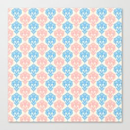 Vintage chic ivory coral blue floral damask pattern Canvas Print