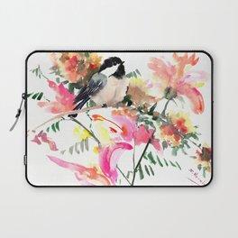 Chickadee bird art design, Birds and Flowers Laptop Sleeve