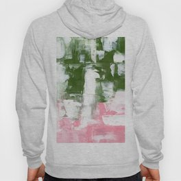 Ejaaz Haniff Abstract Acrylic Palette Knife Painting Olive Green Pink: 'Summer Flower' Hoody