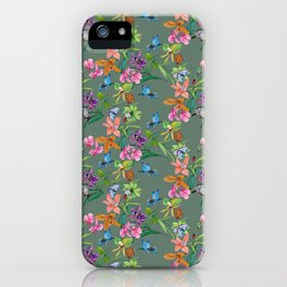 Floral pattern, plants and hummingbirds on green background iPhone Case