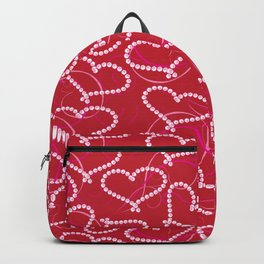 White Dotted Hearts Pattern on Red Background. White Hearts. Valentine Hearts. Pink Swirly Backpack