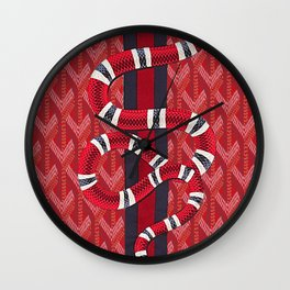 goyard snake red Wall Clock