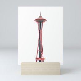 Seattle Tower Illustration - Pink & Blue Mini Art Print