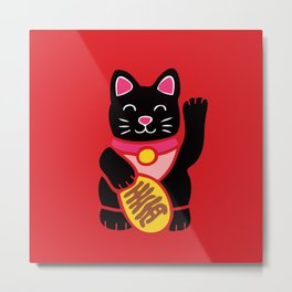 Lucky Black Cat Metal Print