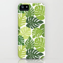 Monstera Leaves Pattern (white background) iPhone Case