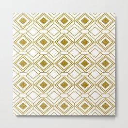 Gold& White Art-deco Geometric Pattern Metal Print