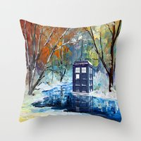 fandom Throw Pillows featuring Starry Winter blue phone box Digital Art iPhone 4 4s 5 5c 6, pillow case, mugs and tshirt by Three Second