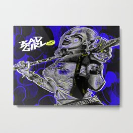 Bad Girl In Blue Metal Print
