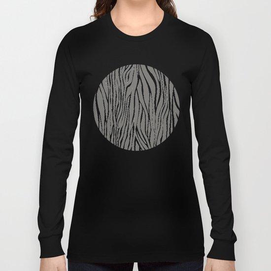 Safari Zebra Print - Grey & White Long Sleeve T-shirt