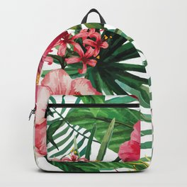 Tropical- Hibiscus and fern Backpack