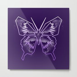 Galactica Purple Butterfly Metal Print