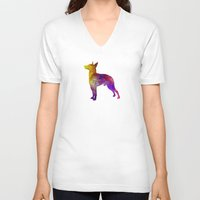 manchester V-neck T-shirts featuring Manchester Terrier in watercolor by Paulrommer